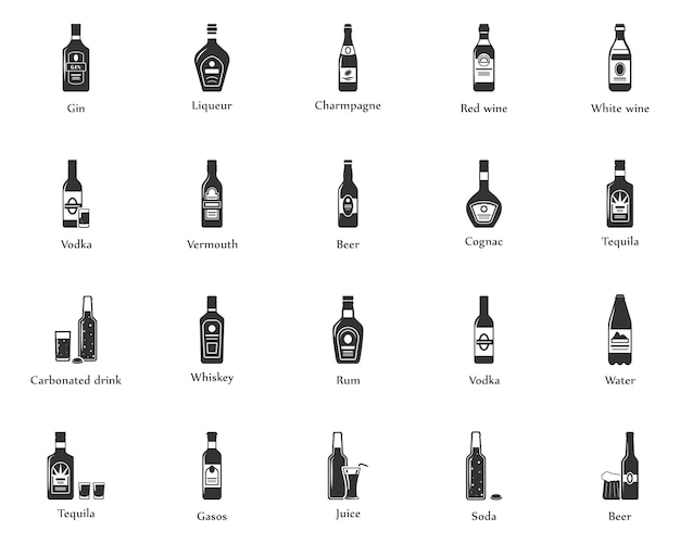 Alcohol drinks icon set. bottles, glasses for restaurants and bars.