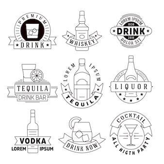 Alcohol drinks vector emblems, badges, logo set. alcohol beverage whiskey and tequila, labels for vo