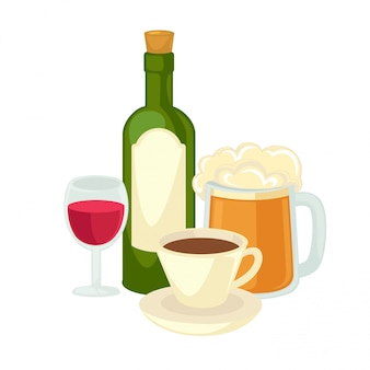 Alcohol drinks wineglass, bottle of wine and glass beer.