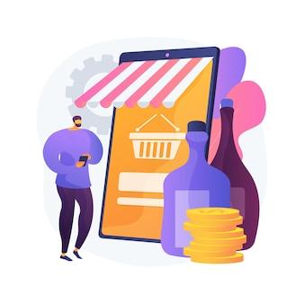 알코올 전자 상거래 추상 개념 벡터 일러스트입니다. 온라인 식료품 점, 주류 시장, 소비자에게 직접 판매되는 온라인 와인, 주류 판매점, 무 접점 배달, 집에 머무르는 추상적 인 은유.