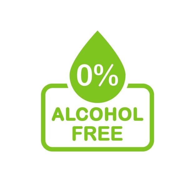 アルコールフリーのアイコン。アルコールのロゴはありません。ゼロパーセントアルコール記号。ベクトルイラスト。