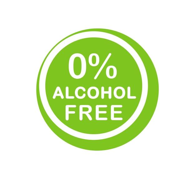 Alcohol free icon. no alcohol logo. zero percent alcohol symbol. vector illustration.