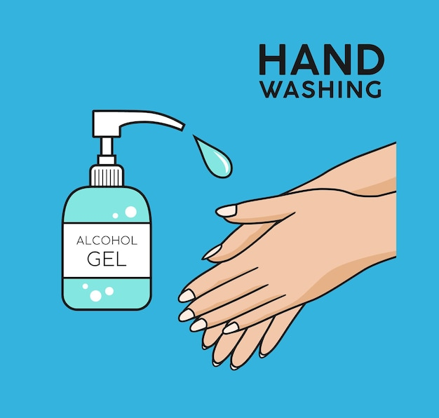 Alcohol gel hand washing symbol colorful background concept design vector illustration