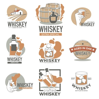Alcohol industry production, whiskey or brandy brand, isolated labels or emblems with oak barrels and bottles