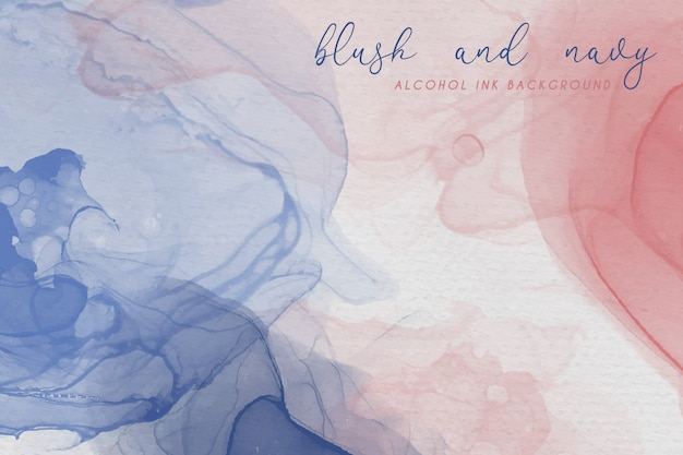 Alcohol ink background in blush and navy colors