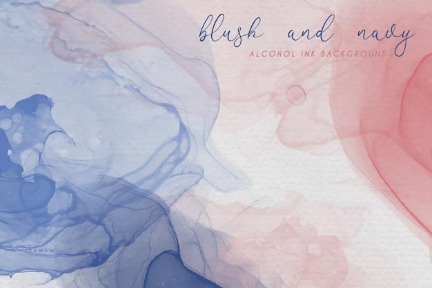 홍당무 및 해군 색상의 알코올 잉크 배경