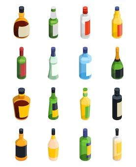 Alcohol isometric icon set