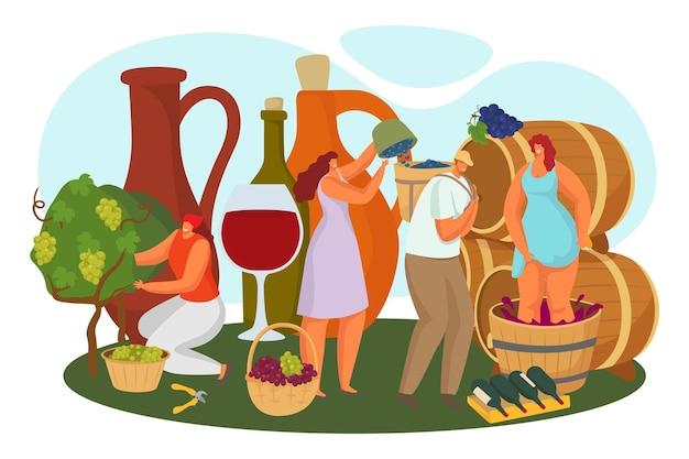 포도원, 벡터 일러스트 레이 션에서 알코올 만들기입니다. 평평한 남자 여자 캐릭터는 포도 수확, 와이너리 생산, 여성 사람이 배럴에서 프레스 과정을 만듭니다. 거 대 한 유리, 병 개념에 붉은 포도 나무.