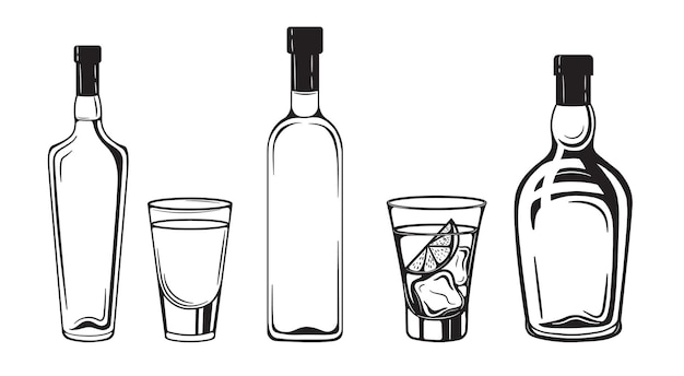 Alcohol sketch drinks bottles engraving black and white vintage style
