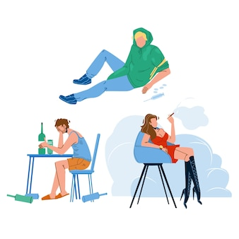 Alcohol, smoke and drug people addiction vector. alcoholic drunk man, junkie addict and smoker woman unhealthy addiction. characters smoking, narcotic and alcoholism problems flat cartoon illustration