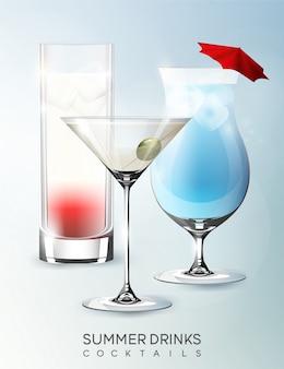 分離されたリアルなスタイルのさまざまな種類のカクテルとアルコール夏の飲料グラステンプレート