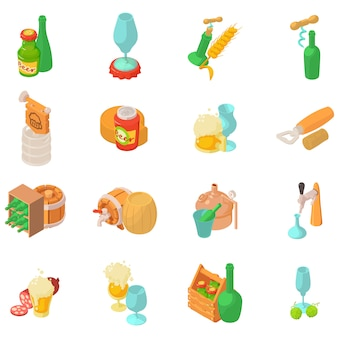 Alcohol tycoon icon set