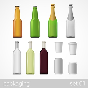 Alcohol wine champagne beer coffee drink glass bottles metal can paper cardboard package set