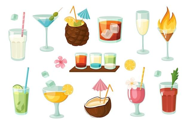 알코올 및 무알코올 칵테일 디자인 요소 집합입니다. 밀크셰이크, 마티니, 모히토, 블러디 메리, 와인, 주스, 여름 음료의 컬렉션입니다. 평면 만화 스타일의 벡터 일러스트 레이 션 고립 된 개체