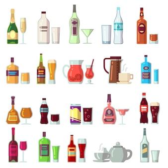 알코올 및 청량 음료. 유리와 병에 담긴 음료