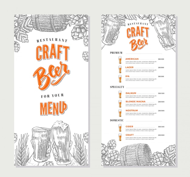 Alcoholic beverages restaurant menu template