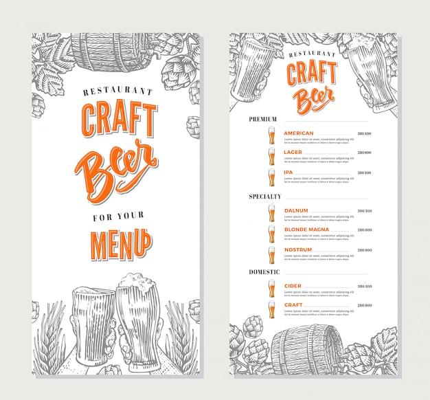 Modello di menu del ristorante di bevande alcoliche