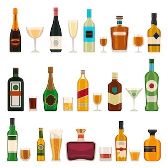 알코올 병 및 안경입니다. 알코올 칵테일, 샴페인, 맥주, 브랜디 및 마티니, 진 및 코냑. 바 메뉴 평면 벡터 아이콘을 설정합니다. 그림 위스키와 샴페인 병, 데킬라와 마티니
