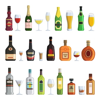 Alcoholic bottles and glasses in cartoon style