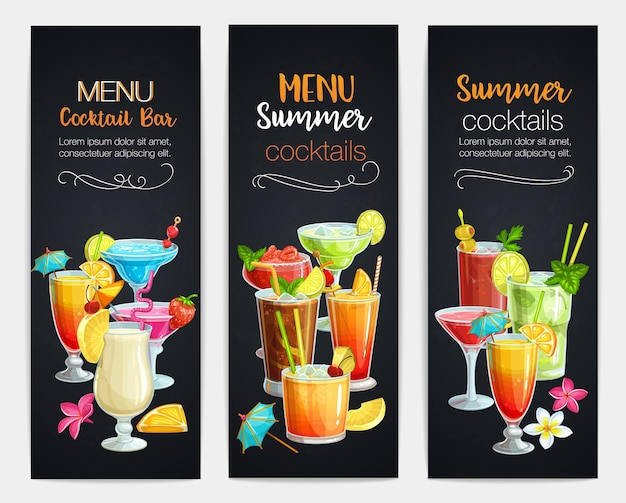 Alcoholic cocklails banners. summer beach alcoholic drinks. long island, bloody mary, margarita, mai tai, pina colada, blue lagoon