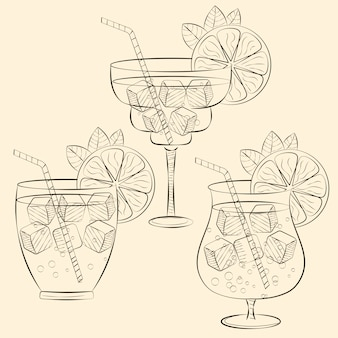 Alcoholic cocktail glass hand drawn sketch illustration.