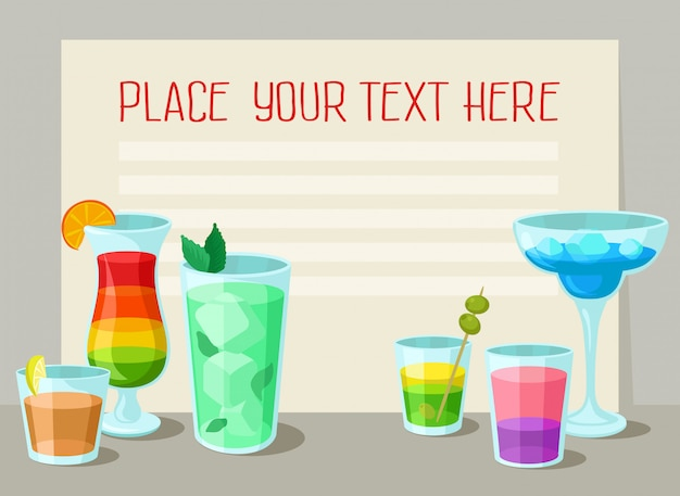 Alcoholic cocktails banner with place for your text, poster with summer drinks, cocktail party invitation   illustration
