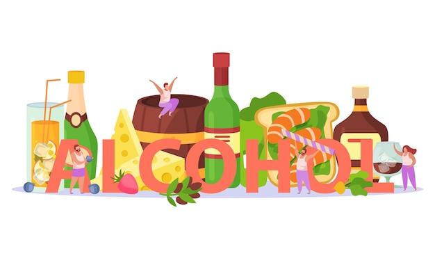 알코올 칵테일 음료 파티 아페리티프 스낵 애피타이저 제목 헤더 플랫 구성과 치즈 새우 럼