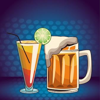 Alcoholic drinks beverages cartoon