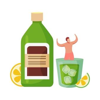 Bevande alcoliche cocktail composizione piatta con uomo che galleggia in un bicchiere di cocktail con bottiglia verde