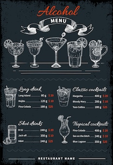 Alcoholic drinks and cocktails menu Premium Vector