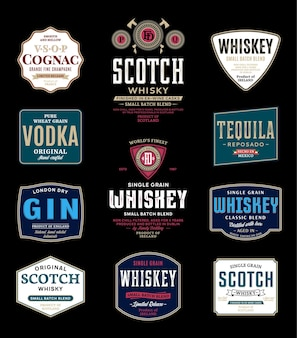 Alcoholic drinks labels and packaging design elements