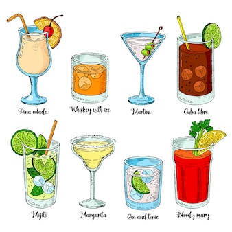 Алкогольные напитки установлены. набор изолированных красочный эскиз коктейлей.