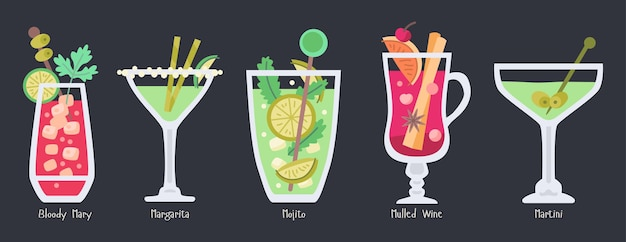 Alcoholic fruit cocktails collection. beach summer party drinks isolated