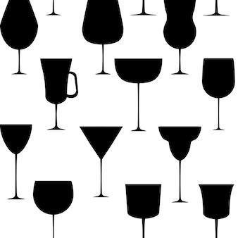 알코올 유리 완벽 한 패턴입니다. 벡터 일러스트 레이 션. eps 10.