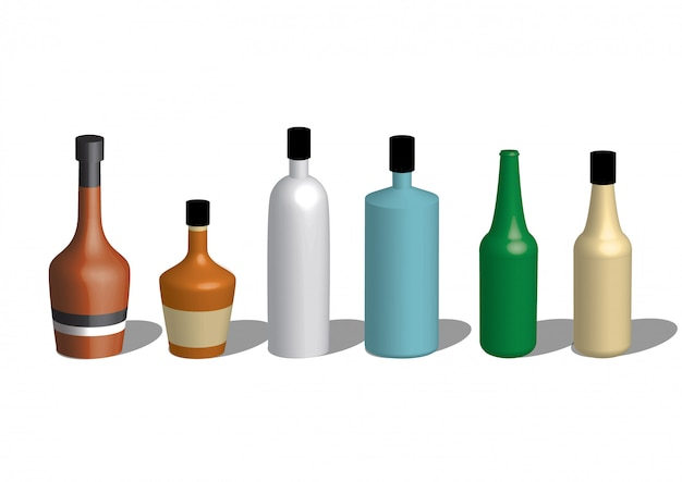 Alcoholic icons detailed photo realistic vector set