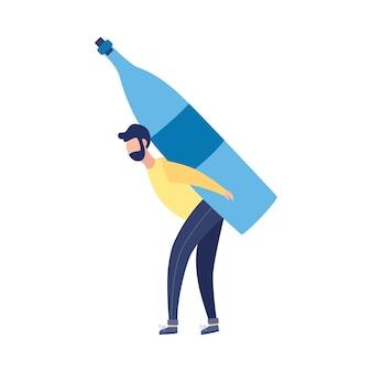 巨大なボトル、白い背景の上の図を保持しているアルコール男の漫画のキャラクター。アルコール依存症と不健康な依存症のシンボルに苦しんでいます。