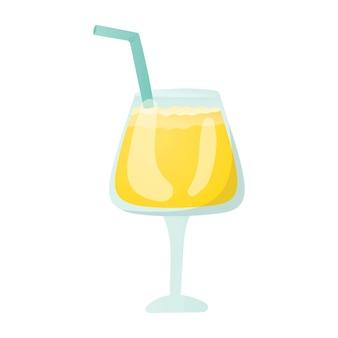 グラスに入ったアルコールまたはノンアルコールカクテル。白い背景の上の飲み物のベクトル分離イラスト。ストローと黄色のパイナップルジュース。バーまたはメニューのデザイン要素。