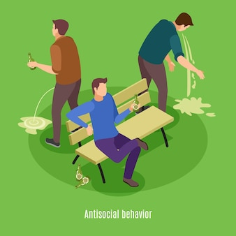 Alcoholism signs symptoms intoxication vomiting isometric background poster