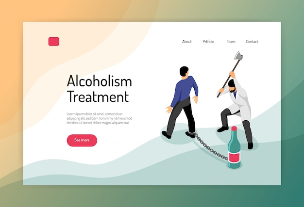 Alcoholism treatment isometric web page with man chained to bottle and doctor with hatchet