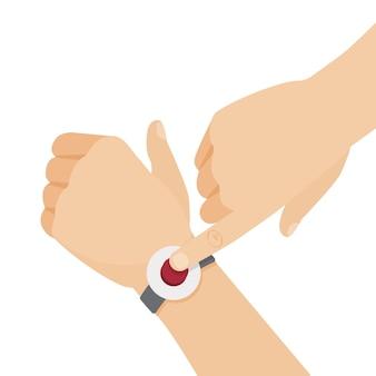 手首のアラートボタン。