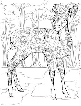 숲 한가운데 서 있는 경고 사슴 무색 선화 아름다운 작은 암사슴 스탠드