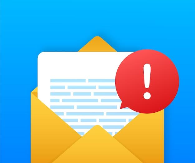 경고 메시지 노트북 알림. 위험 오류 경고, 랩톱 바이러스 문제 또는 안전하지 않은 메시징 스팸 문제 알림