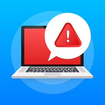 Alert message laptop notification. danger error alerts.