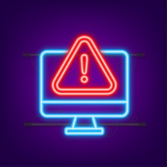 Alert message laptop notification neon icon danger error alerts laptop virus problem