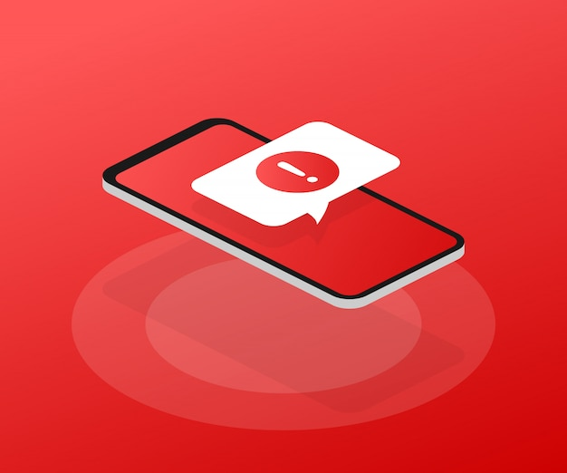 Alert message mobile notification. danger error alerts, smartphone virus problem or insecure messaging spam problems notifications.