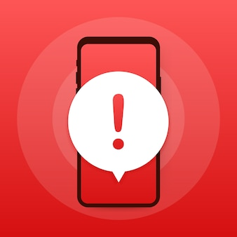 경고 메시지 모바일 알림. 위험 오류 경고, 스마트 폰 바이러스 문제 또는 안전하지 않은 메시징 스팸 문제 알림.