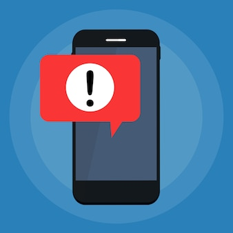 Alert message mobile notification on the smartphone screen concept.  illustration