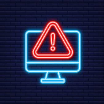경고 메시지 모니터 알림. 네온 아이콘입니다. 위험 오류 경고, 노트북 바이러스 문제 또는 안전하지 않은 메시징 스팸 문제 알림. 벡터 일러스트 레이 션.