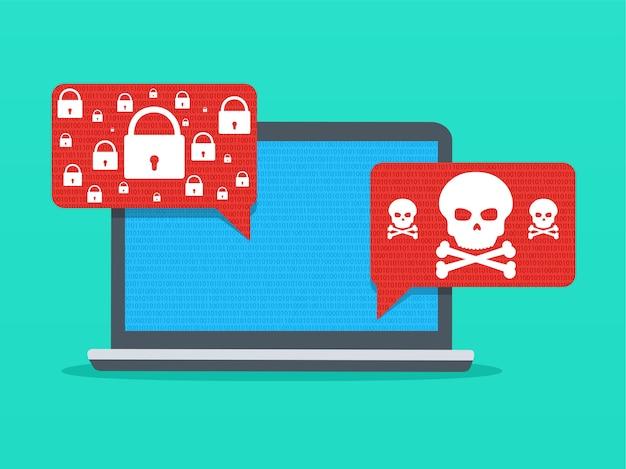 ラップトップ上のアラート通知マルウェア。安全でない接続またはインターネット詐欺。