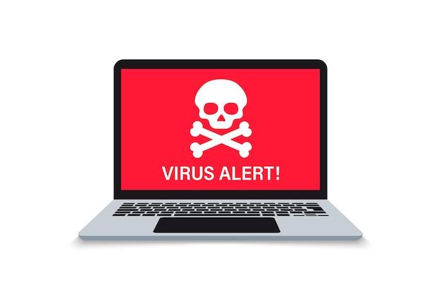 Оповещение о переносном компьютере, вредоносном по, вирусе, спаме, вредоносном приложении или взломе ноутбука. уведомление о вредоносном по. предупреждение о предупреждении о вирусах на экране. конверт вредоносного сообщения
